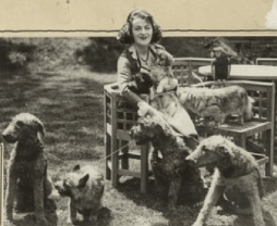 Gracie and dogs, 'Tower' garden