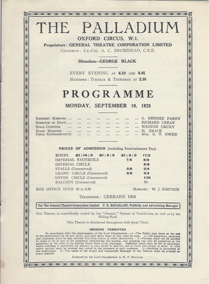 Palladium programme sep 10th 1928-1