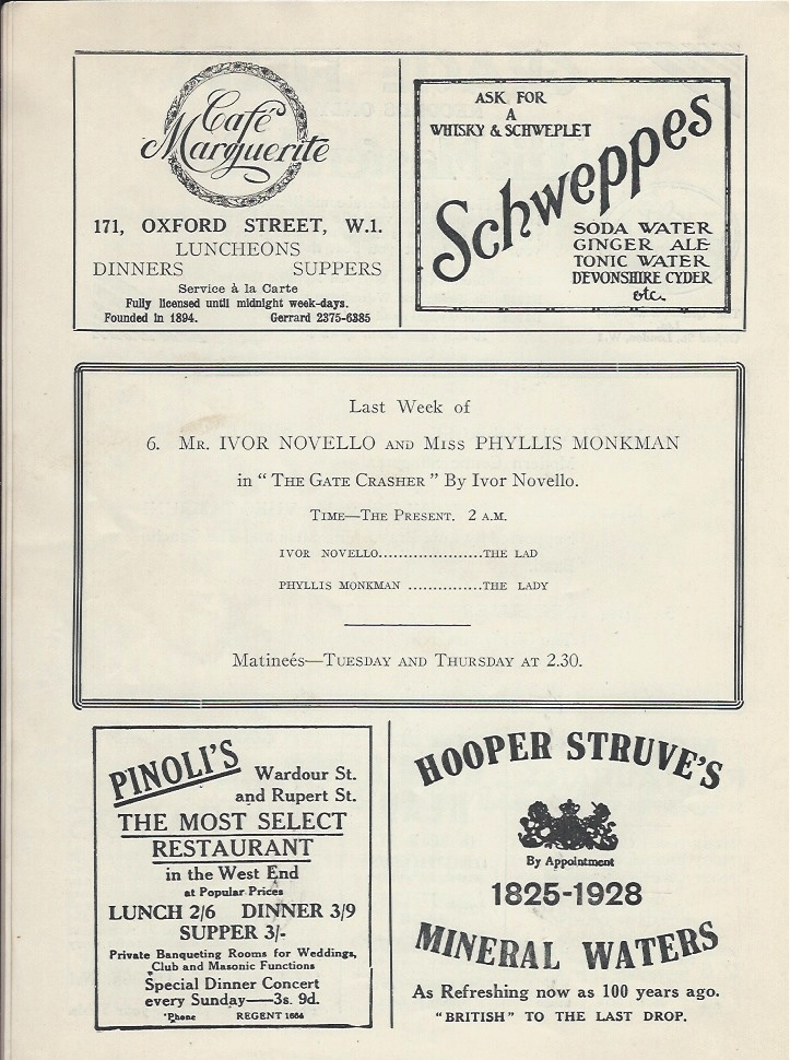 Palladium programme sep 10th 1928-4