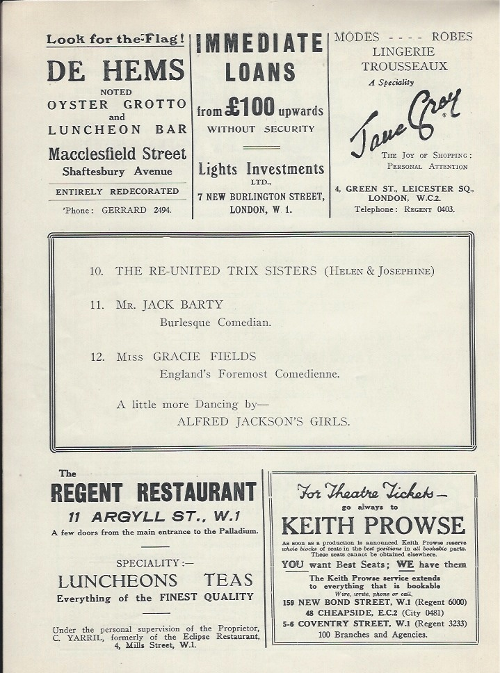 Palladium programme sep 10th 1928-6