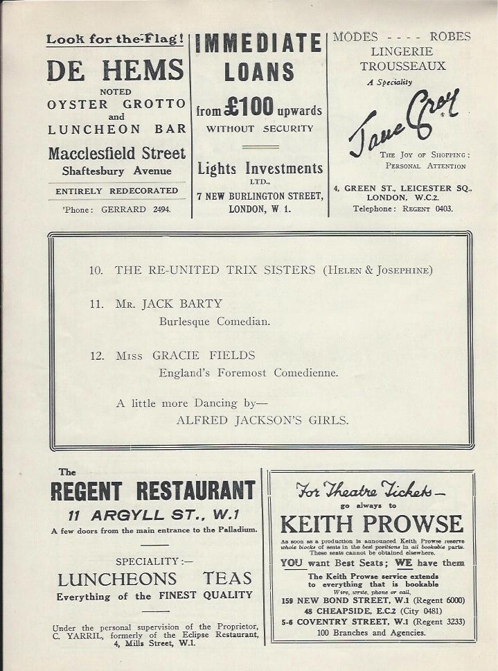 Palladium programme sep 10th 1928-6