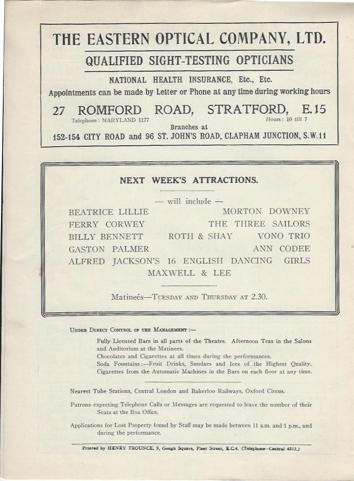 Palladium programme sep 10th 1928-8