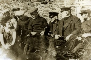 With fishermen at Cawsand in the 1930's - Albert Andrews, Bill May, Bill Cullis, Harry Marks and the Tregethan Brothers, Bob and Nicky