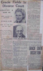 Newspaper reports of Gracie and Archie's divorce