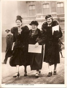 Gracie leaving the palace with Miss Harriet Cohen (pianist) and Mrs. Clare Fyfe