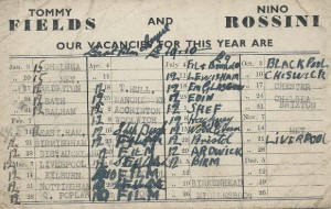 Booking card With thanks to Mervyn Rossini
