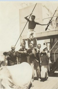 En route to South Africa 1935 - Tommy on Nino's shoulders With thanks to Mervyn Rossini