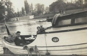 Tommy and Nino's wife Babs on Tommy's boat 'Grig' - Kingston upon Thames. With thanks to Mervyn Rossini