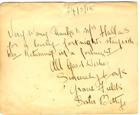 Boarding house thankyou note 1918