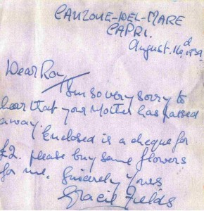 Letter from Gracie Fields offering condolences copy
