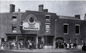 'Steam Clock Tavern' c1885 The music hall to the right